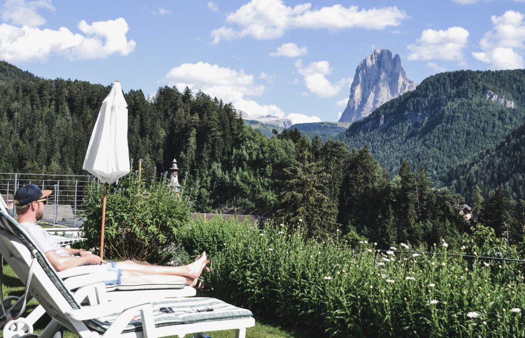 Langkofel Ausblick Villa Quenz Italien Roadtrip