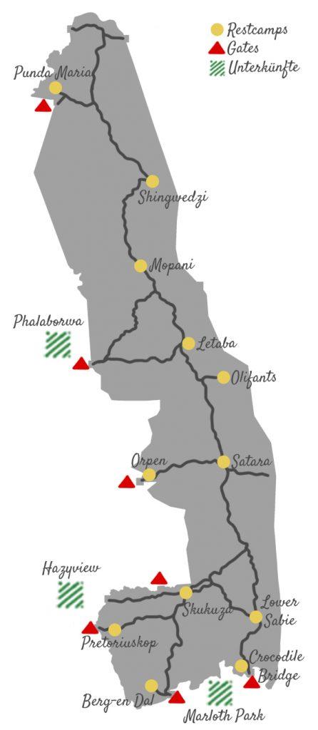 Karte Krüger Nationalpark Übersicht Gates Camps und Unterkünfte