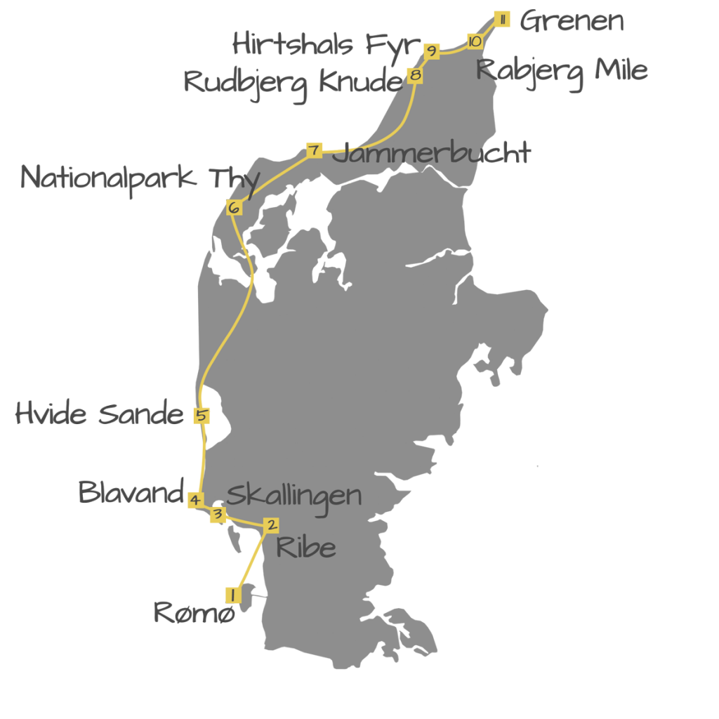 Dänemark Roadtrip Wohnmobil Camper MIetwagen Route Westküste