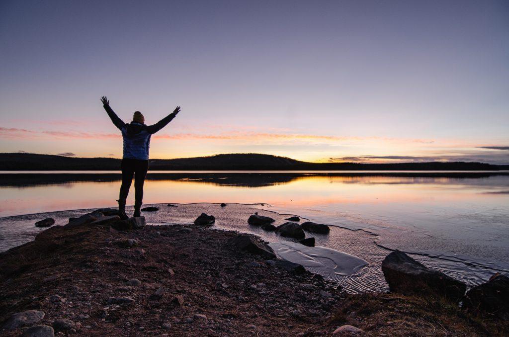 Sonnenuntergang Nordschweden Polarkreis