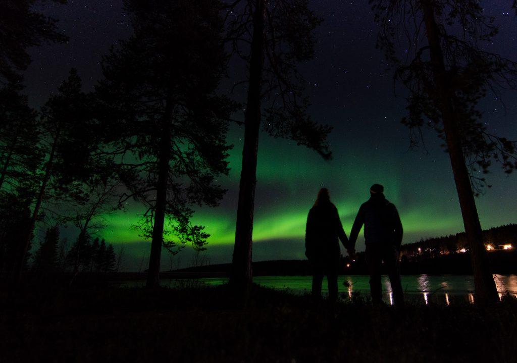 Nordlichter Lappland Skandinavien Schweden Polarkreis Jokkmokk Camper Wohnmobil