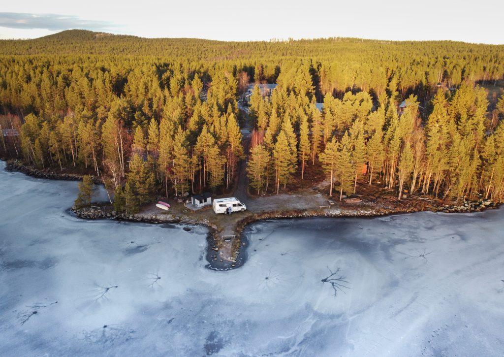 Skabram Capming Lappland Schweden Luftbild